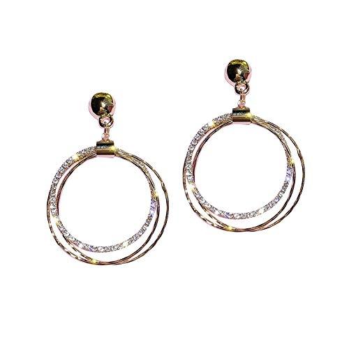 Exquisita, elegante Pendientes for las muchachas forman los aros de plata de la aguja del oído del Rhinestone colgante de destello de múltiples capas del taladro Pendientes Círculo Adornos temperament