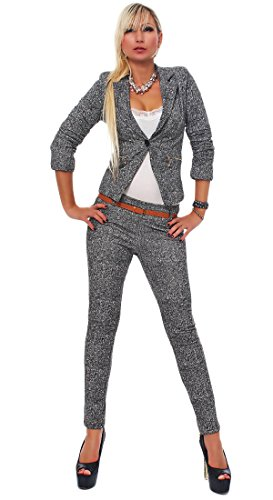 Fashion4Young 4417 Damen Business Anzug Hosenanzug Hose und Blazer Weste Jacke in Grau 4 Größen (S = 34, Grau Weiß)