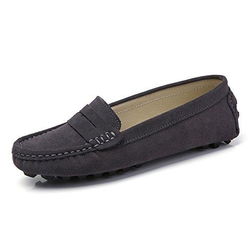 LUOBANIU Dames Mocassin Leer Slipper gesloten ballerinas bootschoenen halve schoenen grijs 37 EU (6 US)
