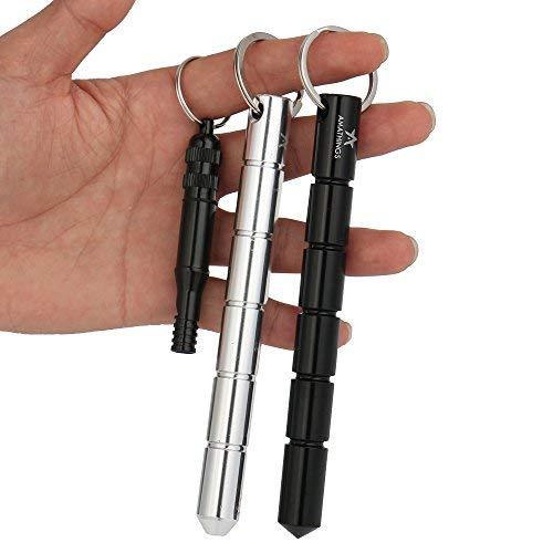 AMATHINGS 2 Stück ! (Doppelpack) Kubotan/Druckverstärker In Schwarz Und Silber Und Sehr Lauter Signal-Pfeife Und Schlüsselring Auch Als Notfallhammer Zu Verwenden 100% Legal