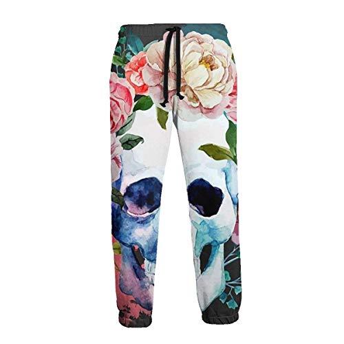 QUEMIN Pantalones de chándal con Calavera y Rosas de Acuarela Mexicana, Divertidos Pantalones Deportivos Casuales para Hombres M