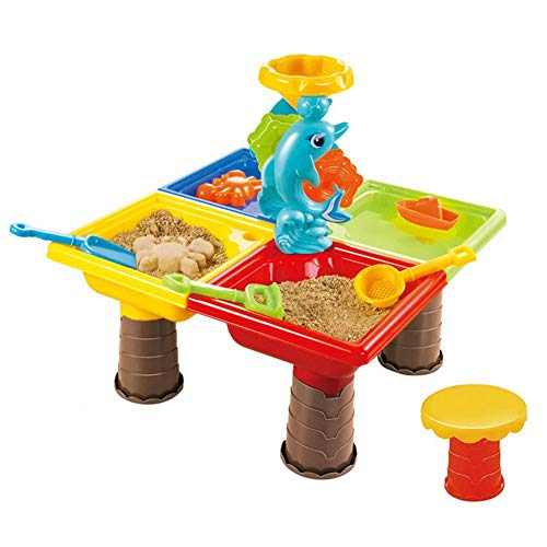 Mesa de juego de arena y agua para niños, juguetes de playa con sala de almacenamiento, tapa, juguetes de caja de arena, juego de cubo de playa con moldes en forma de castillo