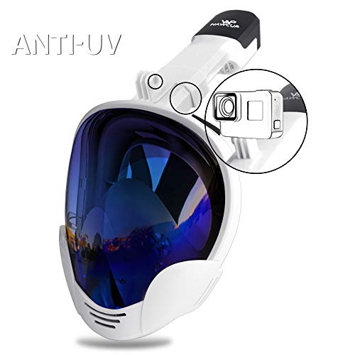 OUUKER Full Face Snorkel Mask, Anti-Fog Anti-Leak Snorkeling Mask UV Protection Diving Snorkel Mask with Detachable Camera Mount for Adults and Youths