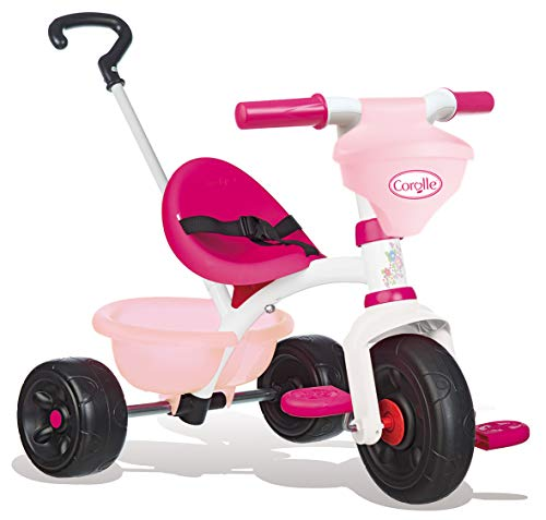 Smoby - Corolle - Tricycle Be Fun - Vélo Enfant Dès 15 Mois - Canne Parentale Amovible - Porte Poupon Intégré - 740329