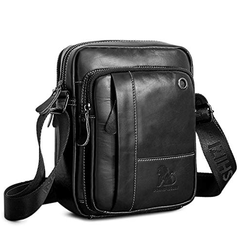 BAIGIO Men's 100% Genuine Leather Cross Body Bag Casual Messenger Satchel Side Bag for Wallet Purse Mobile Phone Keys (Black)