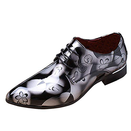 Men Fashion Dress Business Shoe Pointed Toe Floral Patent Leather Lace Up Oxford Shoes Black Brown Red Grey