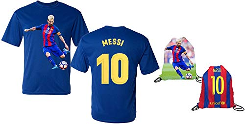 Messi Jersey Style T-shirt Kids Lionel Messi Jersey T-shirt Gift Set Youth Sizes  Premium Quality   Soccer Backpack Gift Packaging (YM 8-10 Years Old, Messi)