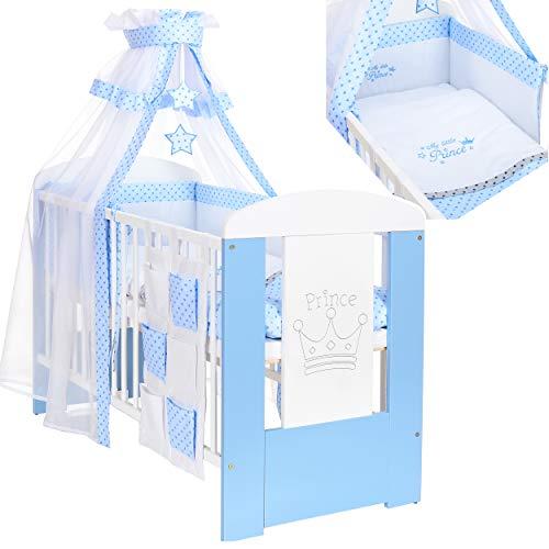 Kinderbett 120x60 inkl. Matratze und Bettwäscheset 3-fach höhenverstellbar | 3 Schlupfsprossen weiß-blau