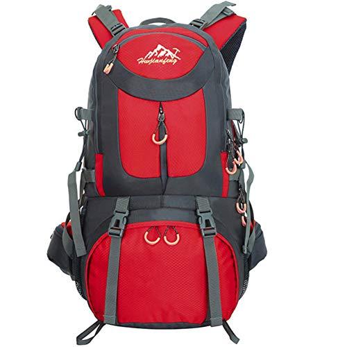 Mochila de 50 litros, ideal para deportes al aire libre, Senderismo, Trekking, Camping Travel, Escalada. Bolso impermeable del alpinismo, Daypacks que suben del recorrido, mochila, mochila. (Rojo)