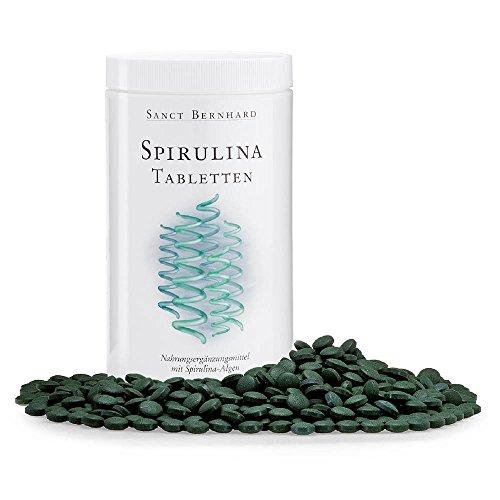 Sanct Bernhard Spirulina-Tabletten, 400 mg Spirulina platensis, große Sparpackung mit 1350 Tabletten
