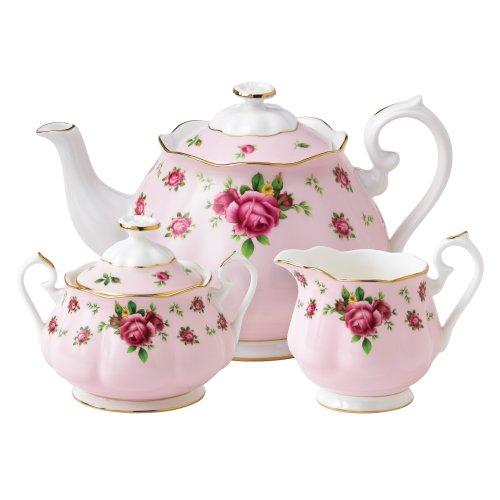 New Country Roses Pink by Royal Albert Teiera/Zucchero/Panna, 3Pezzi