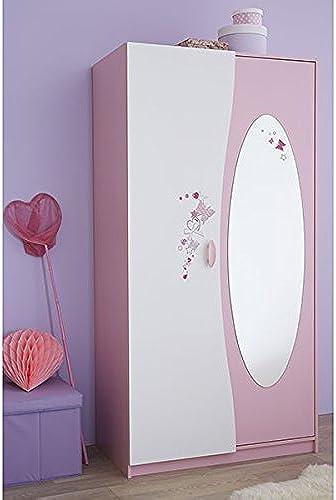 Kleiderschrank Rosa Weiß2 Türen B 94 cm Schrank Drehtürenschrank Kinderzimmer Jugendzimmer Prinzessin mädchen W heschrank