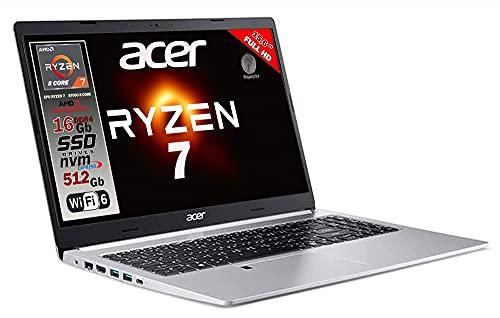 Notebook Acer portatile, Cpu Ryzen 7 5700U 8 core, RAM 16Gb, SSD M.2 512GB PCI, Display 15,6  Full HD IPS, tastiera retroilluminata, Fingerprint, 4 usb, wi-fi 6, hdmi, lan Win 10, Garanzia Italia