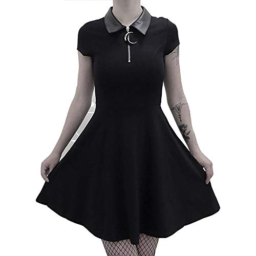 Vdual Damen Gothic Frauen gotisch Schwarz Schlank Dünn Kleid Mond Reißverschluss Leder Hals Falten Beiläufig Kleid Kurz Ärmel Kleider