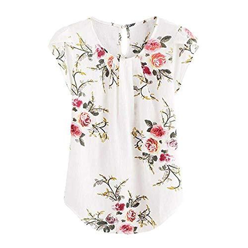 NOBRAND Dames Blouses Bloem Shirt Vrouwen Vrouwelijke Zomer Short-Sleeved Shirt Losse Blouse Katoen top Womens