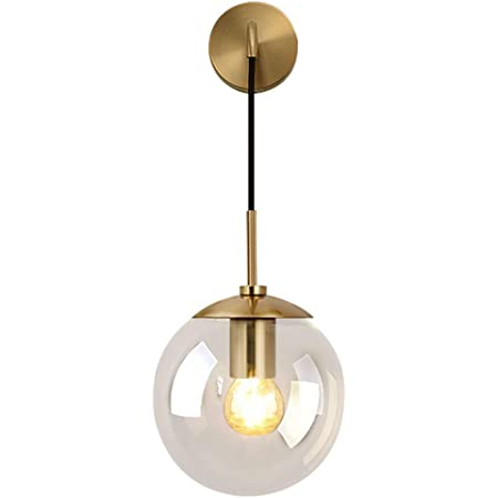 MZStech Industriel Vintage 20 cm Verre Globe Drop Applique Murale Chambre Couloir Applique Lumière Rétro Clair Verre Sphère Applique Murale (Clair)