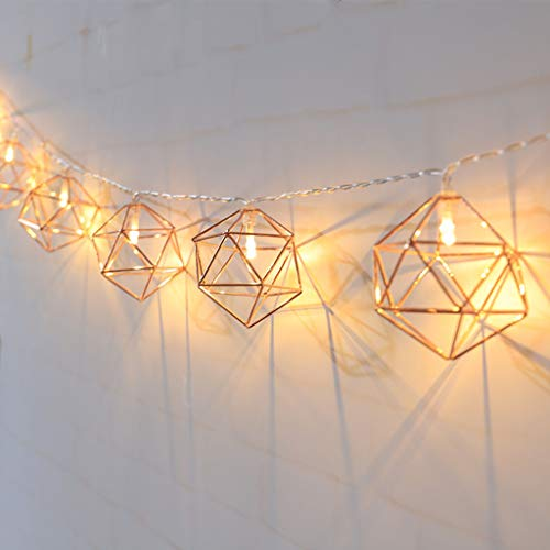 10/20 LED Rose Gold Copper Wire LED String Light, Iron Geometric Hexagons Light String, for Wedding Home Decor, Battery Powered,1.5m10 lights