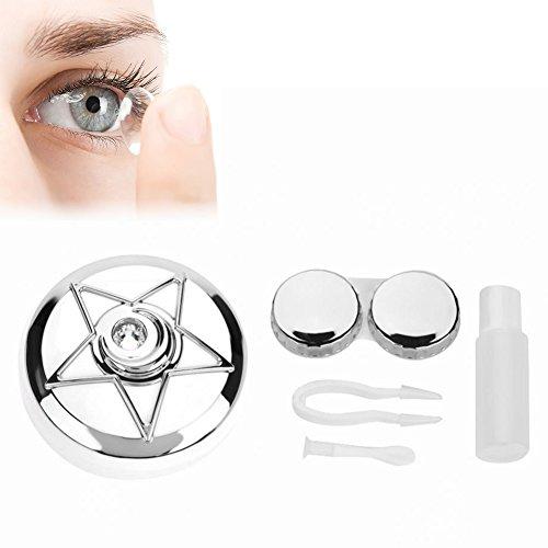 Kontaktlinsenbehälter, Tragbarer Kontaktlinsen Halter mit Spiegel Pentagram Form Objektiven Netter Reizender Reise Ausrüstungs Behälter Kasten(Weiß)