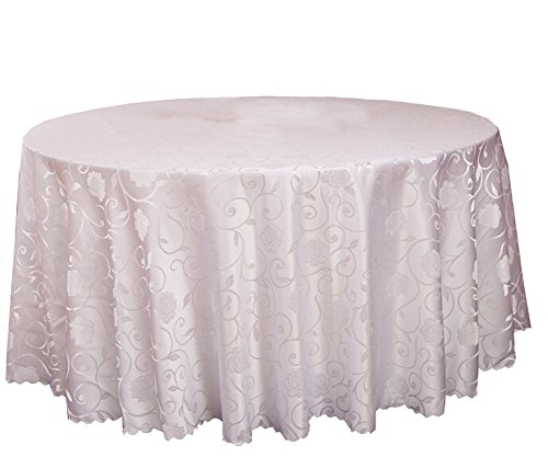Black Temptation Banquet de Mariage Accessoires de Table Nappes Rondes Couverture de Table Blanc (240 * 240 CM)