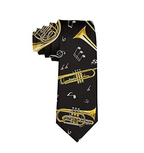Herren-Krawatte, Trompete, Posaune, französisches Horn - Wei� - Einheitsgröße