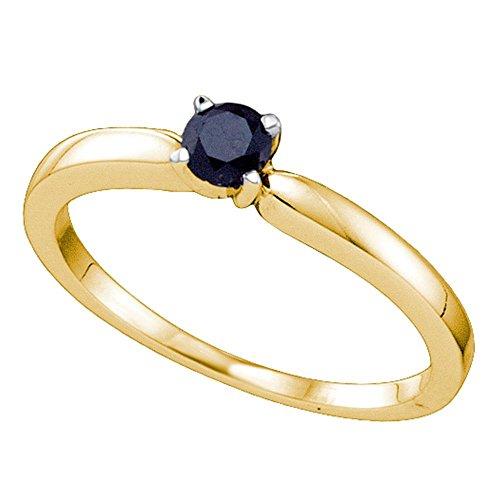 Jewels By Lux Anillo de Diamante Negro de Oro Amarillo para Mujeres 9.5