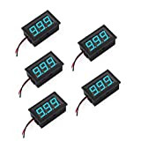DaFuRui 5Pack Blue Mini Digital Voltmeter DC 3V-30V 0.56 Inch Two-Wire LED Panel Digital Display Voltage Meter