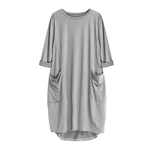 VEMOW Damenmode Tasche lose Kleid Damen Rundhalsausschnitt beiläufige tägliche Lange Tops Kleid Plus Größe (48 DE/XL CN, Grau)