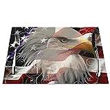 Set di 6 Tovagliette American Eagle Flag Lavabile Antiscivolo Resistente al Calore per la Cucina e la tavola 45x30cm
