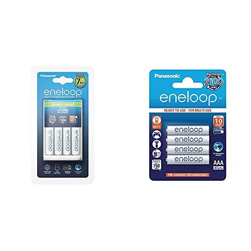 Panasonic Eneloop SY3052296 - Cargador BQ-CC17 (Incluye 4 x AA) + Eneloop SY3052685 - Pack 4 Pilas Recargables, AAA