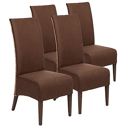 Rattanstühle Set Esszimmer Stühle Antonio 4 Stück Polsterstühle braun Polster Wildleder-Optik cogna