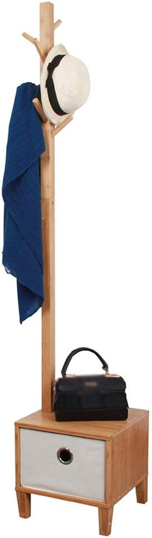 GJD Coatrack Nordic Bedroom Floor Hanger with Drawer Coat Rack Multifunctional Hanger Hatstand