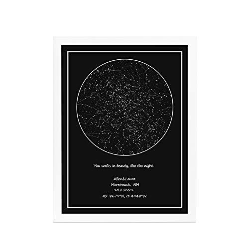 Mapa de constelaciones de estrellas personalizado Mapa de estrellas personalizado Gráfico de estrellas mínimo Cartel de cielo nocturno Imagen de estrella Arte de pared Gran regalo