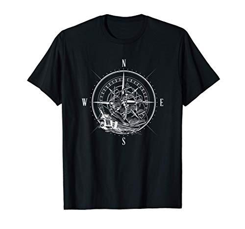 Kompass Segler I Geschenk Himmelsrichtungen I Segelschiff T-Shirt