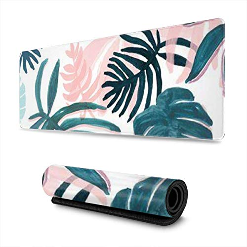 GamingMouse Pad Pink Tropical Palm Tree Leaves Design Pattern XXL XL Large Gaming Mouse Pad Mat Long Extended Mousepad Desk Pad Non-Slip Rubber Mice Pads Stitched Edges (31.5x11.8x0.12 Inch)
