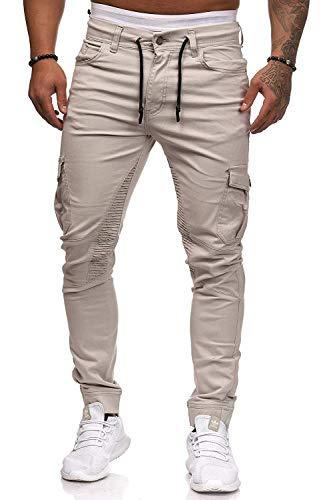 Herren Hosen Cargo Chino Jeans Stretch Jogger Sporthose Herren Hose mit Taschen Slim Fit Freizeithose(NA,l)