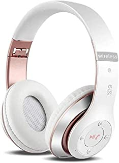 6S Wireless Headphones Over Ear,Hi-Fi Stereo Foldable Wireless Stereo Headsets Earbuds with Built-in Mic, Micro SD/TF, FM for iPhone/Samsung/iPad/PC (White & Rose Gold)