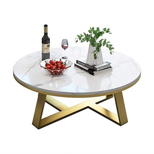 Woonkamer round salontafel Ronde Koffietafel High-Grade Furniture Elegant Marble Top Finish Gold Base, Couch Bedside Side Table Laptop Desk Moderne woonkamer ronde tafel (Size : 70x40cm)