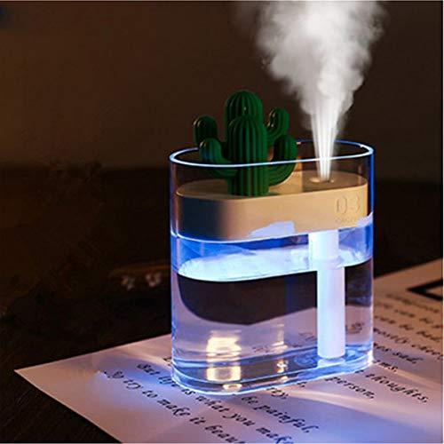Ankep Difusores de aceites Esenciales Cactus, USB Mini Mist, humidificadores de Apagado automático sin Agua con Modo de Niebla Ajustable, 4 Luces LED de Color, para el hogar, Yoga, Oficina(160 ml)