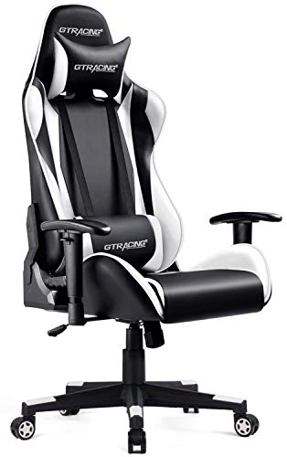 GTRACING Gaming Chair Racing Computer Multi-Function Executive Chair with Headrest Lumbar Support Pillows Recliner Swivel Rocker Tilt E-Sports Black &White black chair gaming