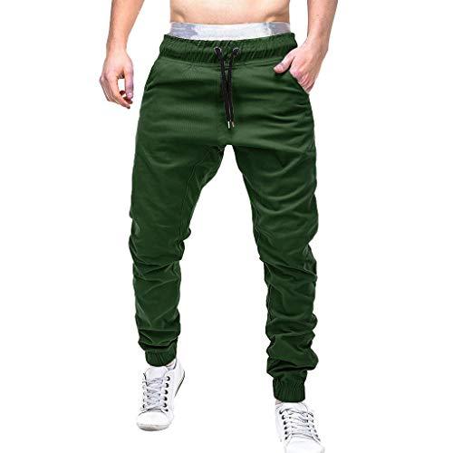 Stretchy Trainingshose Herren Einfarbig Jogginghose Taschen Slim Hosen Lockere Freizeithose GreatestPAK,Grün,M (Taille:64-74cm)