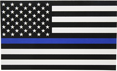 Thin Blue Line Flag Decal - Super X-Large 8x4.8 in. Black, White, and Blue American Flag Sticker for Cars and Trucks - in Support of Police and Law Enforcement Officers (Super XL)