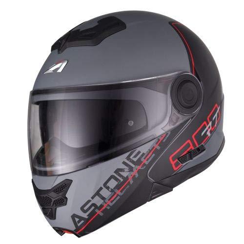 Astone Helmets - RT800 graphic exclusive LINETEK - Casque de moto modulable - Casque de moto 2 en 1 - Casque polyvalent route et ville - Casque en polycarbonate - red/grey XL