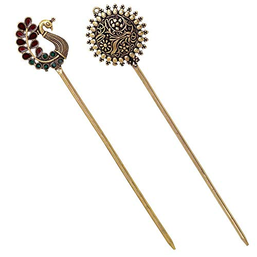 V L IPMEX Gold Oxidized Metal Handmade Bun Hair/Juda Pin Rhinestone for Women