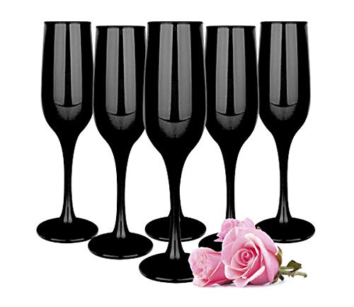 Sendez 6 schwarze Sektgläser 200ml Sektkelche Champagner Prosecco Sektglas Proseccoglas