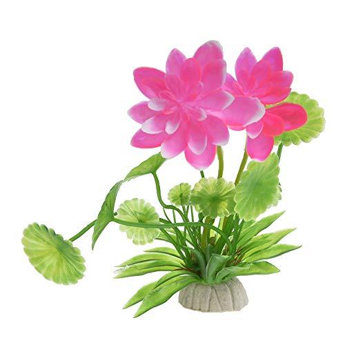 Blendx Kunstblume Künstliche Wasserpflanzen Lotus für Aquarium Dekoration PVC Grüne Blätter Pinke Blume