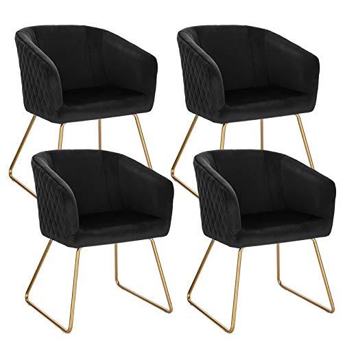 WOLTU BH271sz-4 4X Esszimmerstühle 4er Set Küchenstuhl Polsterstuhl Wohnzimmerstuhl Sessel mit Armlehne, Samt, Metall Beine, Schwarz