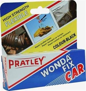 Pratley Rubber Repair - 2 Part Black Epoxy Leather Glue - Adhesive Kit for Couches Shoe Sole Boot Heel Plastic Car Dashboard and Bumper