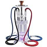 Color LED Light Acrylic 4 Hose Shisha Set, Bar Party Sheesha Narguile Chicha Charcoal Hookah Box Accesorios para fumar,Blanco