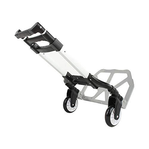 Klappbare Handkarre, Aluminium-Treppensteiger Sackkarre Hochleistungs-Handwagen-Gepäckwagenrad, Tragkraft 80 kg, 64 cm bis 100 cm einstellbar Stange