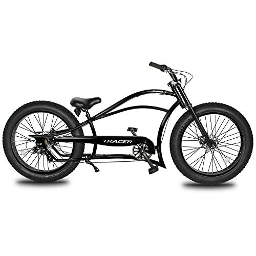 Tracer Siena 26 Inch Complete Cruiser Bikes for Men,Shimano 7-Speed,Stretch Steel Frame,Three Piece Cranksets,Disc Brake,Low Handlebar,26×4.0 Fat Tire Bike,Mens Bike,Matte Black